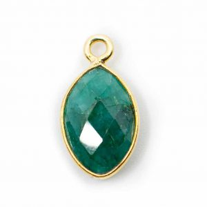 Birthstone Pendant May Emerald 925 Silver & Gilded (12 mm)