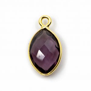 Birthstone Pendant February Amethyst 925 Silver & Gilded (12 mm)