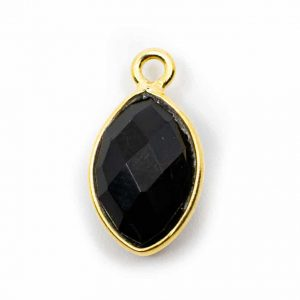 Gemstone Pendant Black Onyx 925 Silver & Gilded (12 mm)