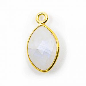Birthstone Pendant June Moonstone 925 Silver & Gilded (12 mm)