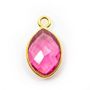 Birthstone Pendant October Pink Tourmaline 925 Silver & Gilded (12 mm)