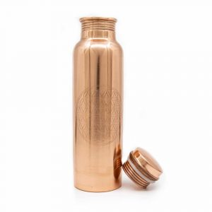Spiru Copper Water Bottle Flower of Life Etched - 900 ml