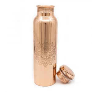 Spiru Copper Water Bottle Mandala Etched - 900 ml