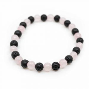 Gemstone Bracelet Rose Quartz / Lava Stone