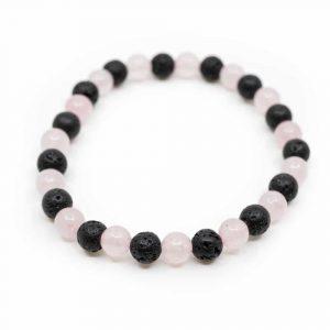 Gemstone Bracelet Rose Quartz / Lava Stone
