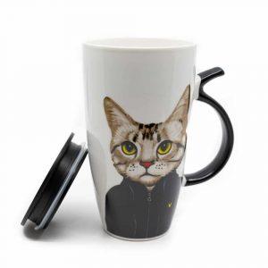 Mug Black Cat with Tail Handle - 400 ml