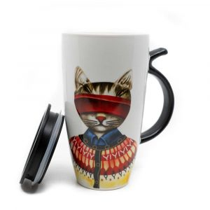 Cup Red Cat with Tail Handle - 400ml