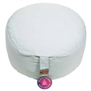 Yogi and Yogini Meditation Cushion Round Cotton Celadon - 33 x 17 cm