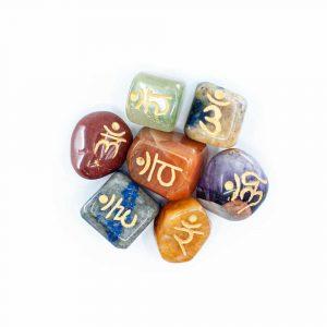 7 Chakra Gemstone Tumbled Stones with Sanskrit Letters