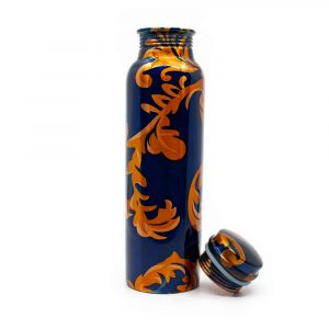 Spiru Copper Water Bottle Blue Floral Print - 900 ml