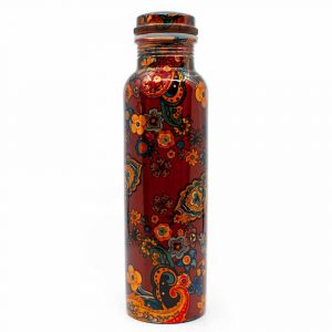 Spiru Copper Water Bottle Floral Painting Print - 900 ml
