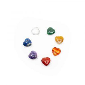 7 Chakra Gemstone Hearts Set