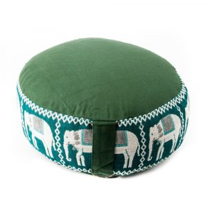 Meditation cushion Green Elephants Printing