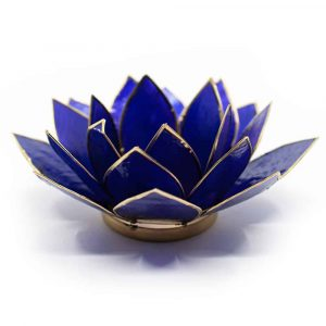 Lotus Mood Light Indigo 6th Chakra Gold Rim