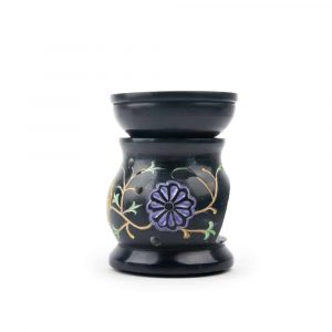 Oil Evaporator Flowers Black Soapstone