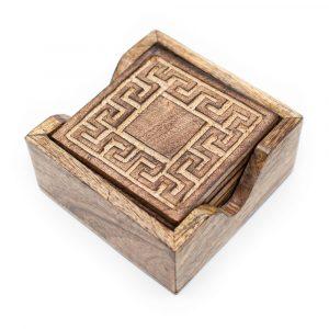 Durable Wood Coasters Geometric (Set of 6)