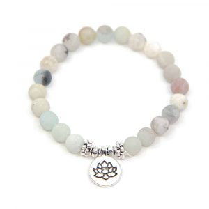 Gemstone Bracelet Amazonite with Lotus Elastic
