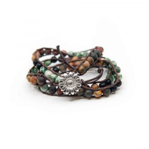 Gemstone Bracelet Agate Wrap Bracelet Bohemian