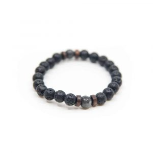 Gemstone Bracelet Lava Stone Elastic with Wooden Chip