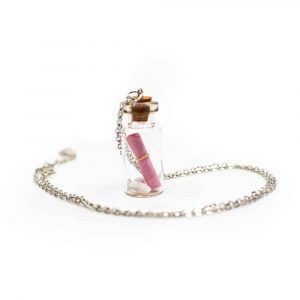 Wish Necklace Message in a Bottle Pink