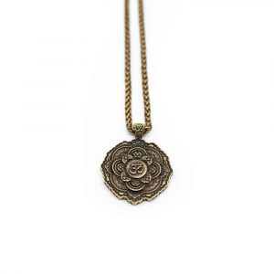 Tibetan OHM Pendant Metal Necklace - Gold Coloured