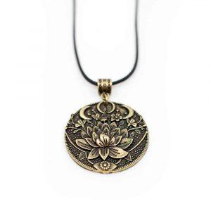Tibetan Pendant Lotus & Moon - Golden