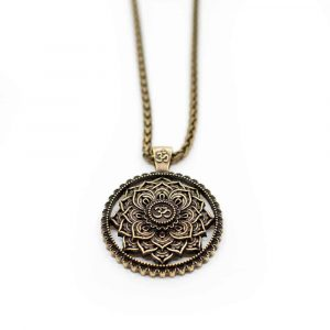 Tibetan Mandala OHM Necklace - Gold-coloured