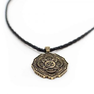 Tibetan OHM Pendant Black Necklace - Gold-coloured