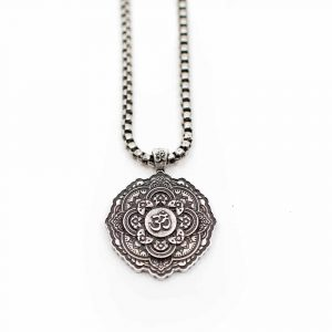 Tibetan OHM Pendant Metal Necklace - Silver-coloured