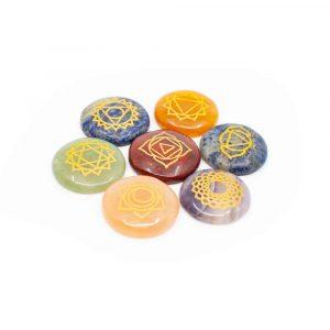 7 Chakra Gems with Gold Symbols