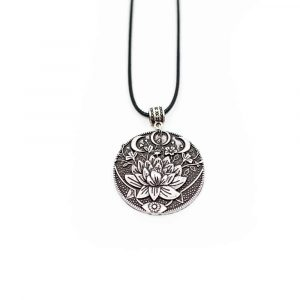 Tibetan Pendant Lotus & Moon - Silver-coloured