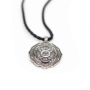Tibetan OHM Pendant Black Necklace - Silver-coloured