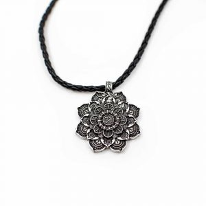 Tibetan Mandala OHM Pendant - Silver-coloured