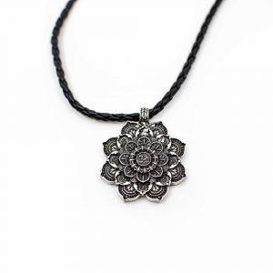 Tibetan Mandala OHM Pendant - Silver-coloured