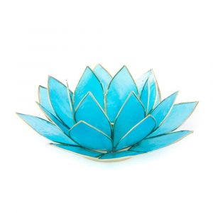 Lotus Mood Light Blue 5th Chakra Gold Rim