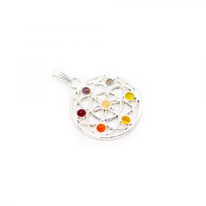 Chakra Flower of Life Pendant Small Stones