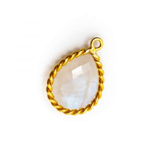Gemstone Pendant Rainbow Moonstone - 925 Silver & Gilt