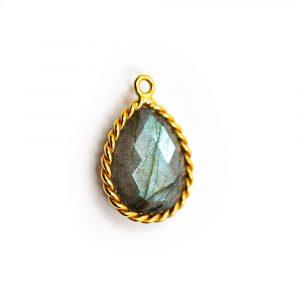 Gemstone Pendant Labradorite - 925 Silver & Gilt