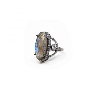 Labradorite Gemstone Ring 925 Silver - A+ Quality