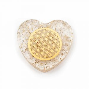 Orgonite Heart Rock Crystal with Copper Flower of Life
