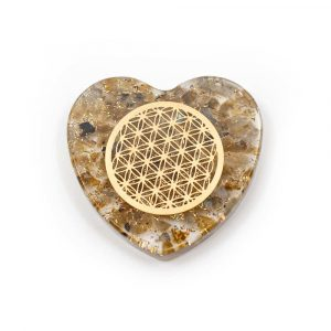 Orgonite Heart Labradorite with Copper Flower of Life