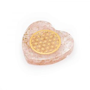 Orgonite Heart Rose Quartz with Copper Flower of Life