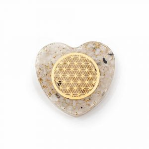 Orgonite Heart Moonstone with Copper Flower of Life