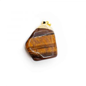Tiger Eye Tumbled Stone Pendant Gold Coloured