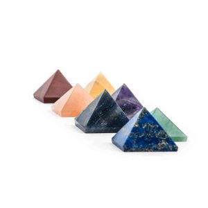 Set of 7 pyramid-shaped stones in the Chakra colours