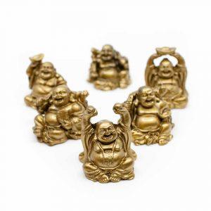 Happy Sitting Buddha Image Polyresin Gold-coloured - set of 6 - ca. 7.5 cm