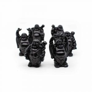 Happy Buddha Statue Standing Polyresin Black - set of 6 - approx. 7 cm