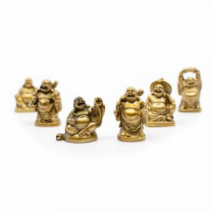 Happy Buddha Statue Polyresin Gold - set of 6 - approx. 5 cm