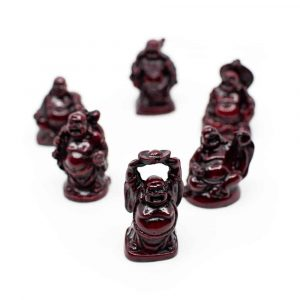 Happy Buddha Statue Polyresin Red - set of 6 - approx. 5 cm