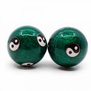 Baoding Massage Balls Yin Yang Large Green
